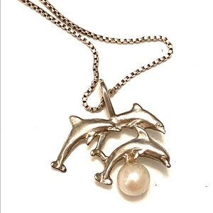 DOLPHIN Pearl Necklace Sterling Silver 925